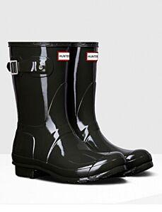 Hunter Women's Original Gloss Short Boot Dark Olive