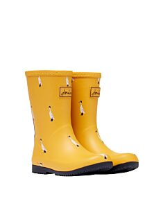 Joules JNR Printed Roll Up Wellies Gold Ducks