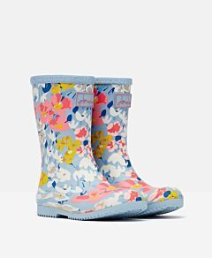 Joules JNR Printed Roll Up Wellies Light Blue Floral