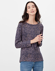Joules Harbour Print Long Sleeve Jersey Top Navy Speckle