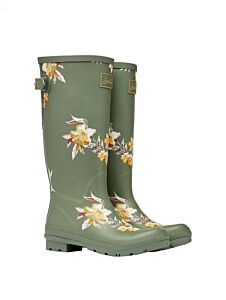 Joules Back Adjustable Printed Wellies Khaki Florals