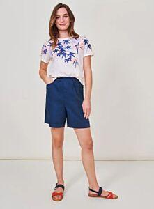 White Stuff Lily Linen Shorts Dark Blue