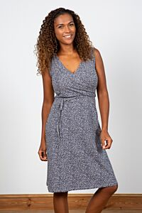 Lily and Me Gathered Wrap Dress Ditsy Navy
