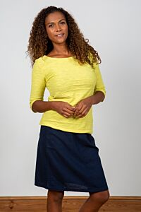 Lily and Me Classic Everyday Linen Skirt Navy