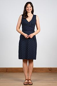 Lily and Me Gather Wrap Dress Block Print Navy
