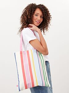 Joules Lulu Shopper Canvas Tote Pink Stripes