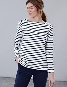Joules Matilde Square Neck Jersey Top Cream Navy Stripe