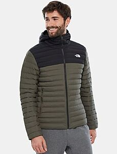 The North Face Men's Stretch Hooded Down Jacket Taupe Green/Black