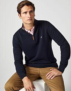 Crew Clothing Men's Classic 1/2 Zip Knit Jumper Navy
