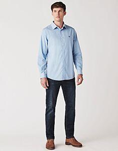 Crew Clothing Men's Classic Fit Micro Stripe Shirt Sky