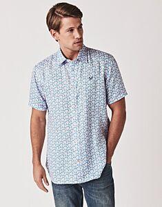 Crew Clothing Men's Linen Tropical Floral Print Shirt Lilac Blue