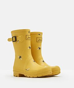 Joules Molly Mid Height Printed Wellies Gold Botanical Bees