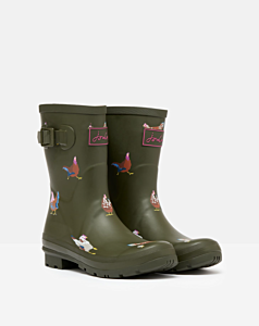 Joules Molly Mid Height Printed Wellies Khaki Chickens