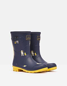 Joules Molly Mid Height Printed Wellies Rain Dogs