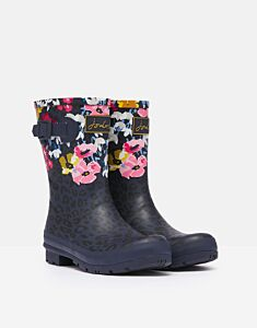 Joules Molly Mid Height Printed Wellies Navy Leopard Floral