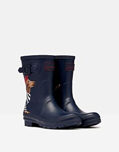 Joules Molly Mid Height Printed Wellies Navy Sausage Dog