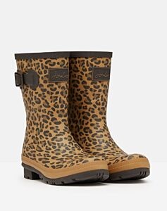 Joules Molly Mid Height Printed Wellies Tan Leopard