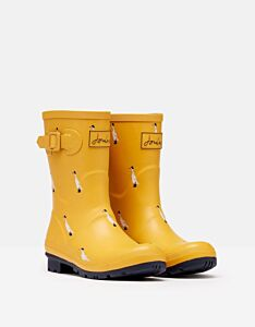 Joules Molly Mid Height Printed Wellies Gold Ducks