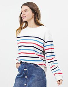 Joules Monique Crew Sweater Cream Multi Stripe