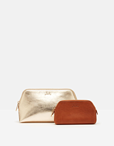 Joules Peplow 2 Pack Cosmetic Purses Gold