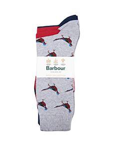 Barbour Pheasant Multi Socks Set Navy/Red
