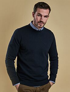 Barbour Pima Cotton Crew Neck Sweater Navy