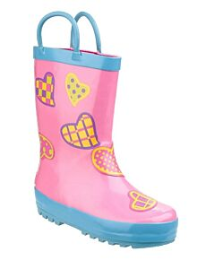 Cotswold Puddle Waterproof Pull On Boots Hearts