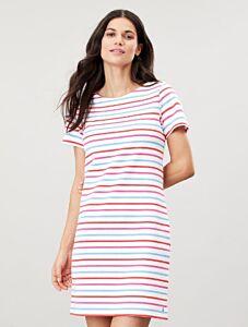 Joules Riviera Short Sleeve Printed Dress White Blue Pink Stripe