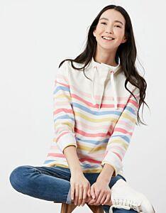 Joules Saunton Funnel Sweatshirt Cream Strawberry Stripe