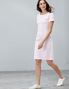 Joules Riviera Long Short Sleeve Printed Dress Pink Stripe