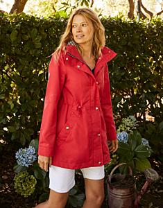 Joules Shoreside Waterproof A-Line Coat Red