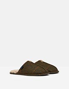 Joules Furlton Tweed Mule Slippers Green Tweed