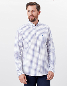 Joules Welford Classic Fit Long Sleeve Shirt White Pink Stripe