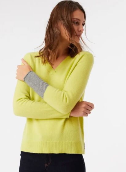 White Stuff Rosie V Neck Jumper Lime Yellow