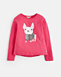 Joules Girls Raya Top Dark Pink Sequin Pug