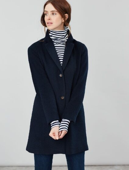 Joules Costello Wool Blend Easy Coat Marine Navy