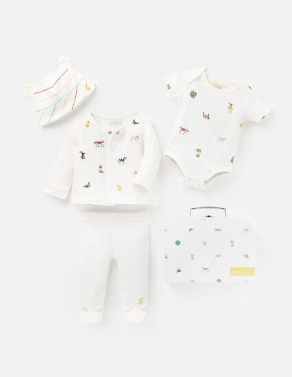 Joules 4 Piece My First Outfit White Farm Print