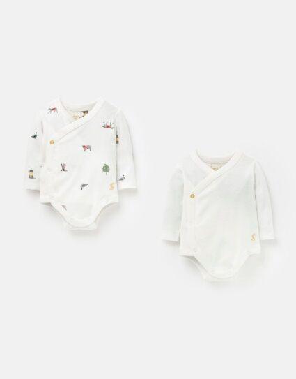Joules Kimono Cottom 2Pack Bodysuits White Farm Print