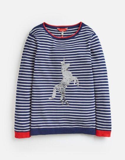 Joules Girls Miranda Knitted Jumper Navy Stripe Sequin Horse