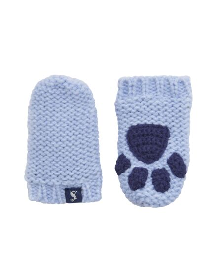 Joules Baby Paws Knitted Mittens Sky Blue