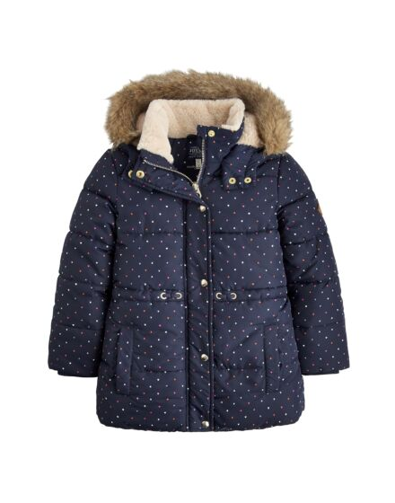 Joules Girls Stella Padded Jacket Navy Heart Spot