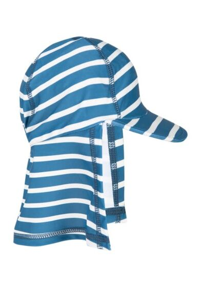Frugi Little Swim Legionnaires Hat Steely Blue Stripe