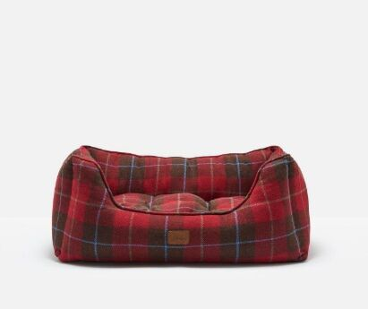 Joules Percher Square Pet Bed Red Country Tweed
