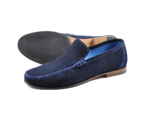 Loake Nicholson Moccasin Shoe Navy Suede