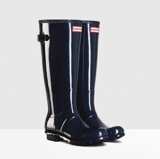Hunter Women's Back Adjustable Gloss Boot Navy