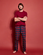 Joules Goodnight Lounge Set Red Check
