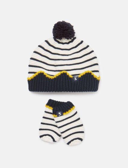 Joules Crown Hat & Mitten Set Cream Navy Stripe