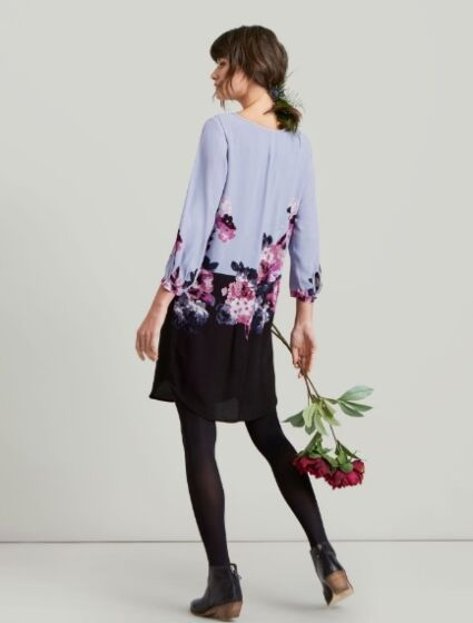 Joules Lyris Woven Dress Dusk Grey Woodland Floral