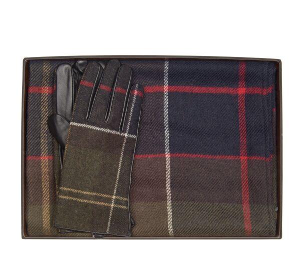 Barbour Tartan Scarf and Glove Set Classic Tartan