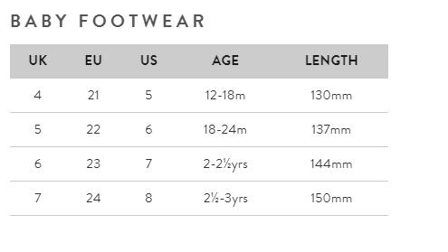 Baby footwear size guide